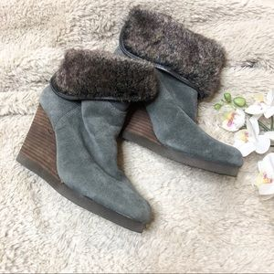 Lucky Brand Fur Wedge Ankle Bootie